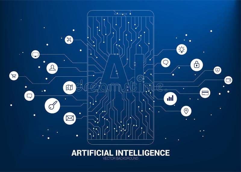 A.i. in mobile phone with circuit line graphic. Concept of mobile telecommunication with machine learning. Artificial Intelligence vector illustration