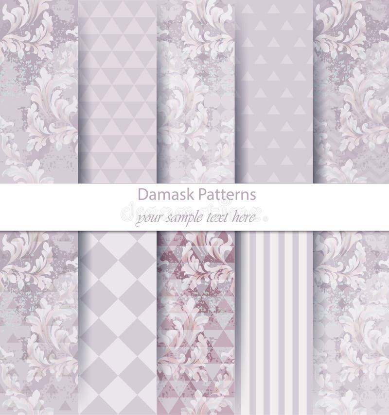 I modelli del damasco hanno fissato il vettore della raccolta Vari colori dell'ornamento classico con le strutture astratte del f illustrazione vettoriale