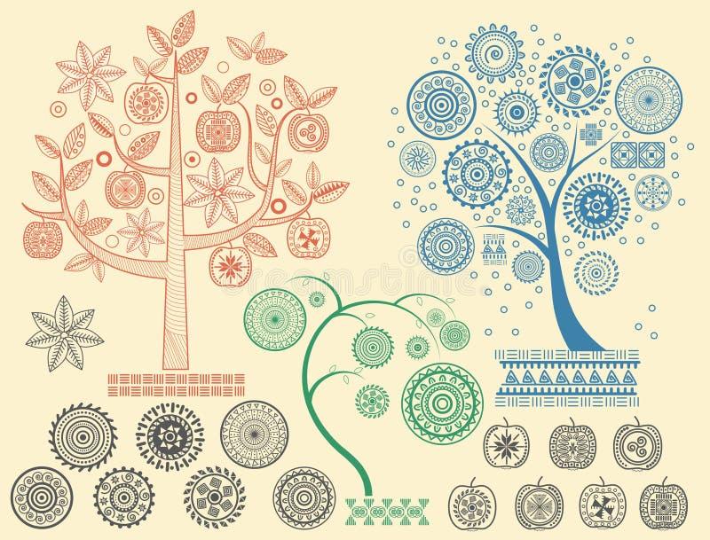 I modelli dell'albero con gli elementi differenti vector l'illustrazione Ornamenti antichi maya di civilizzazioni degli Aztechi illustrazione vettoriale