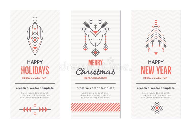 I modelli della cartolina d'auguri di Natale e del nuovo anno con la festa firma royalty illustrazione gratis
