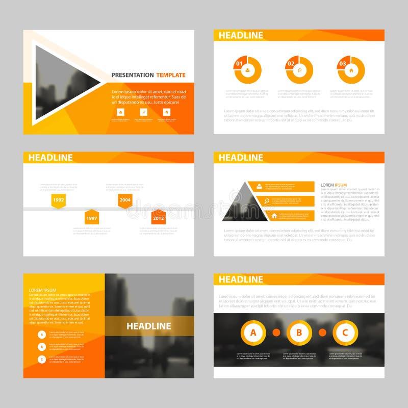 I modelli della presentazione di OrangAbstract, progettazione piana del modello degli elementi di Infographic hanno messo per il  illustrazione di stock