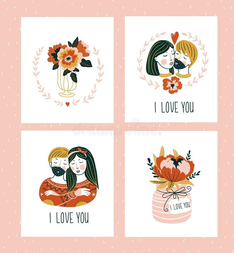 I modelli delle cartoline d'auguri del giorno di biglietti di S. Valentino con l'iscrizione, i cuori, i fiori, le coppie e la pia royalty illustrazione gratis