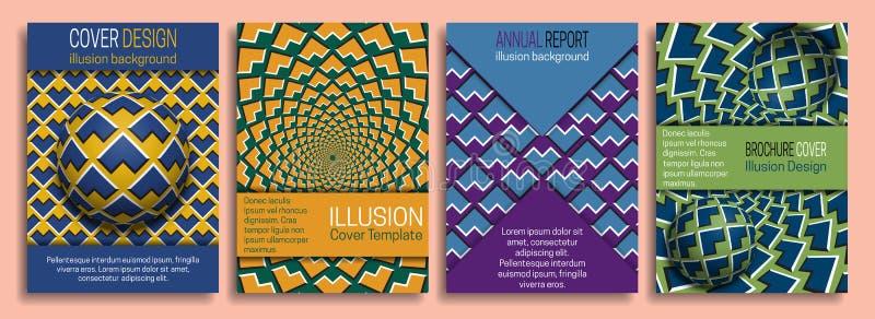 I modelli di coperture variopinti con l'illusione ottica progettano gli elementi Libretto, opuscolo, rapporto annuale, progettazi illustrazione vettoriale