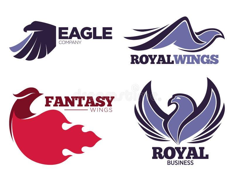 I modelli di logo dell'uccello di Phoenix o dell'aquila di fantasia hanno messo per la società dell'innovazione o di sicurezza illustrazione vettoriale