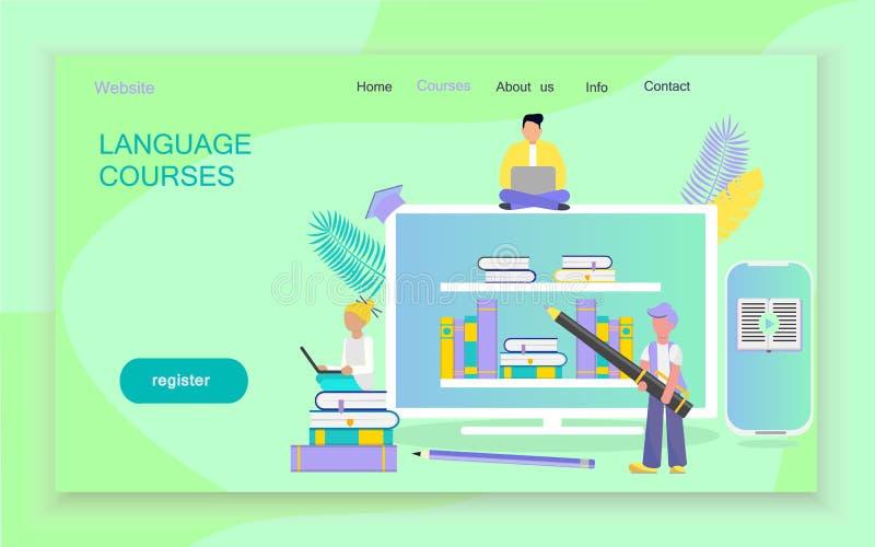 I modelli di progettazione della pagina Web per i corsi di lingue illustrazione di stock