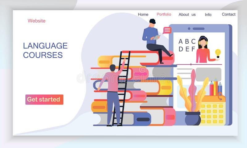I modelli di progettazione della pagina Web per i corsi di lingue, e-learning, istruzione online illustrazione di stock