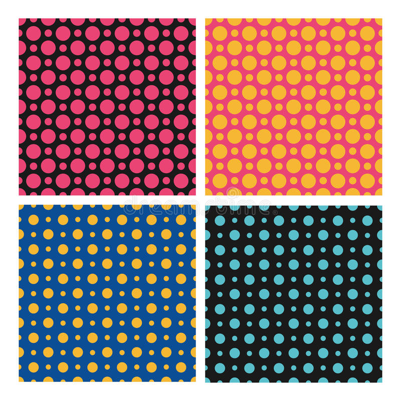 I modelli di punti senza cuciture di colore mettono, vector il fondo illustrazione vettoriale