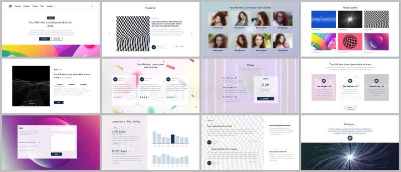 I modelli di vettore per il sito Web progettano, le presentazioni minime, cartella con la pendenza astratta variopinta vibrante illustrazione di stock