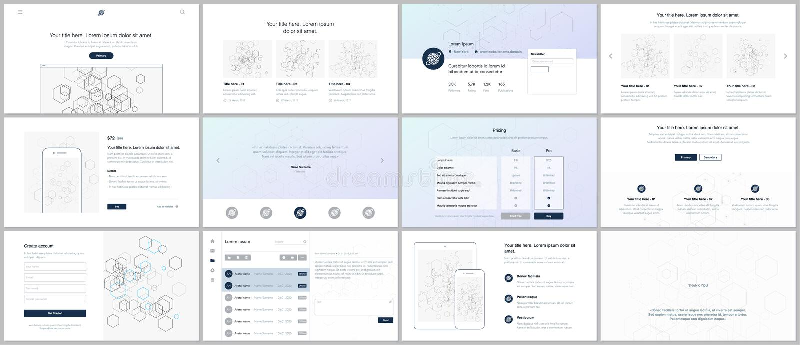 I modelli di vettore per il sito Web progettano, le presentazioni minime, cartella UI, UX, GUI Progettazione delle intestazioni,  illustrazione vettoriale