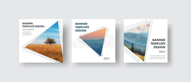 I modelli quadrano la dimensione standard delle insegne bianche di web con un triangolo per la foto royalty illustrazione gratis