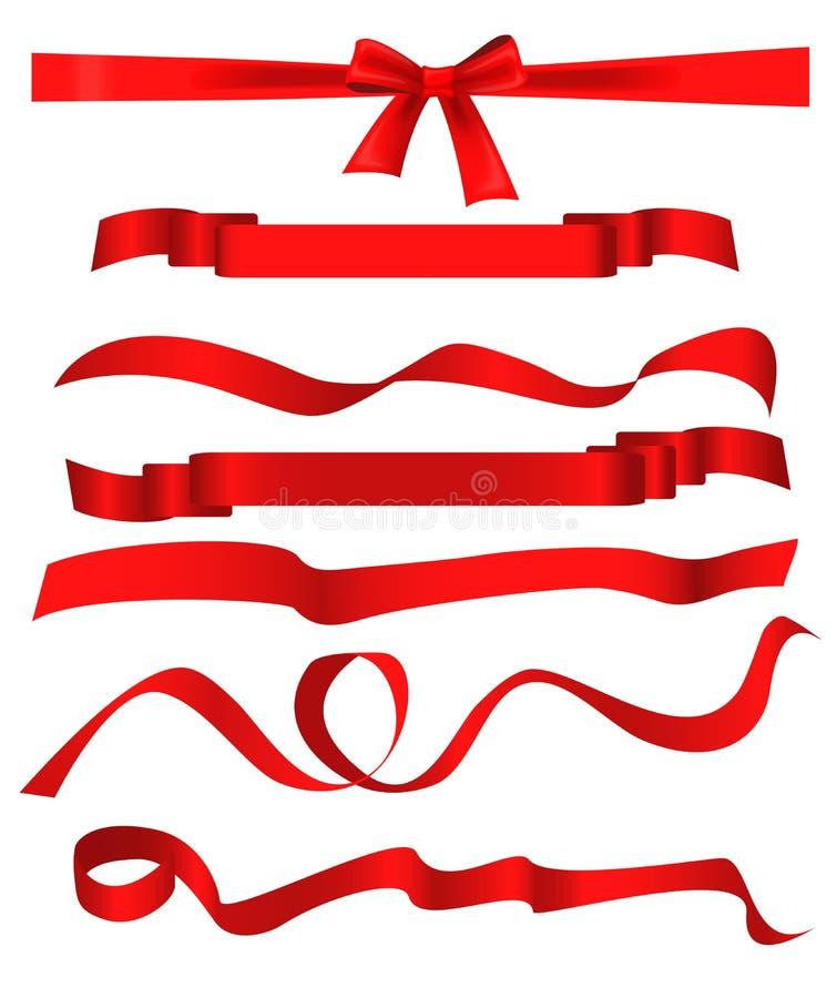 I modelli rossi del nastro hanno messo isolato su fondo bianco illustrazione vettoriale
