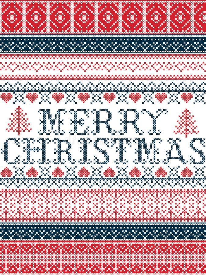 I modelli senza cuciture di Natale di vettore nordico di stile di Buon Natale hanno ispirato dal Natale scandinavo, l'inverno fes royalty illustrazione gratis