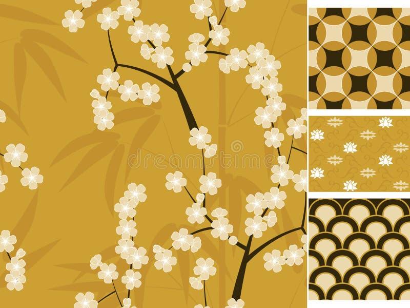 I modelli senza cuciture di vettore giapponese hanno messo con bambù, sakura e l'illustrazione tradizionale degli ornamenti illustrazione di stock