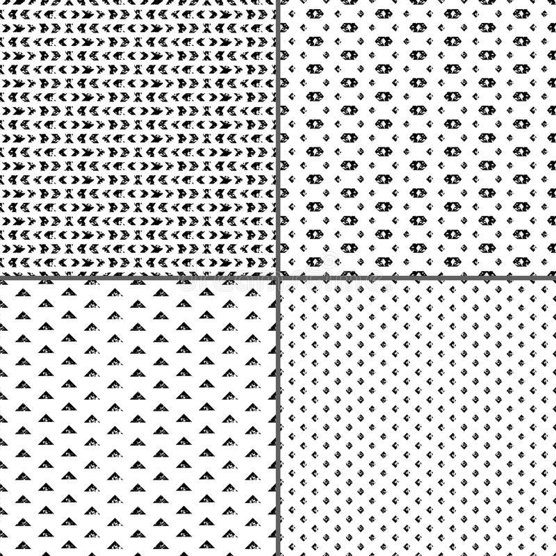 I modelli senza cuciture invecchiati in bianco e nero di lerciume etnico geometrico mettono, vector royalty illustrazione gratis