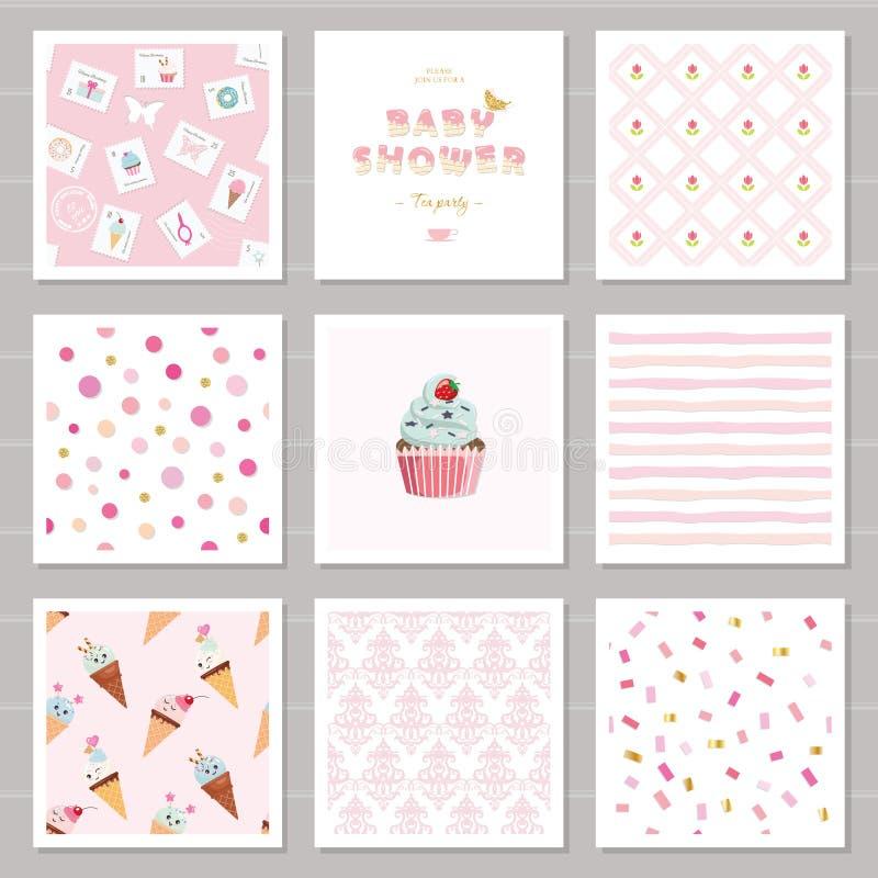 I modelli svegli della carta ed i modelli senza cuciture hanno messo per le ragazze Per il compleanno, nozze, progettazione della illustrazione vettoriale