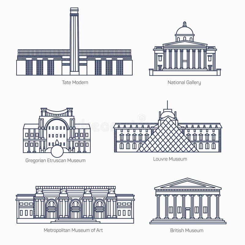 I monumenti assottigliano la linea icone di vettore illustrazione vettoriale