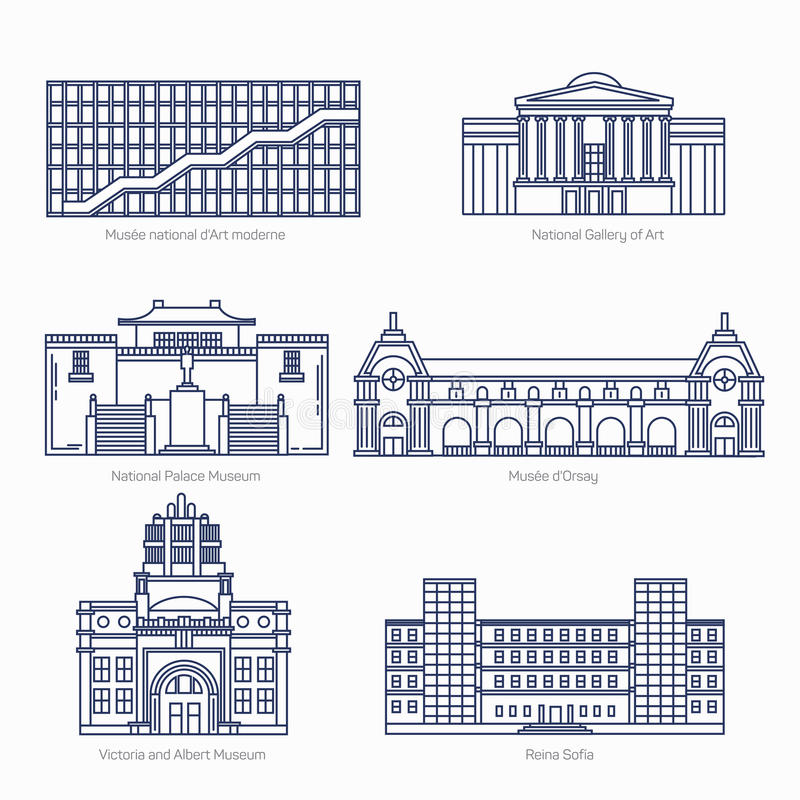 I monumenti assottigliano la linea icone di vettore National Gallery di arte, museo di palazzo nazionale, Orsay illustrazione di stock
