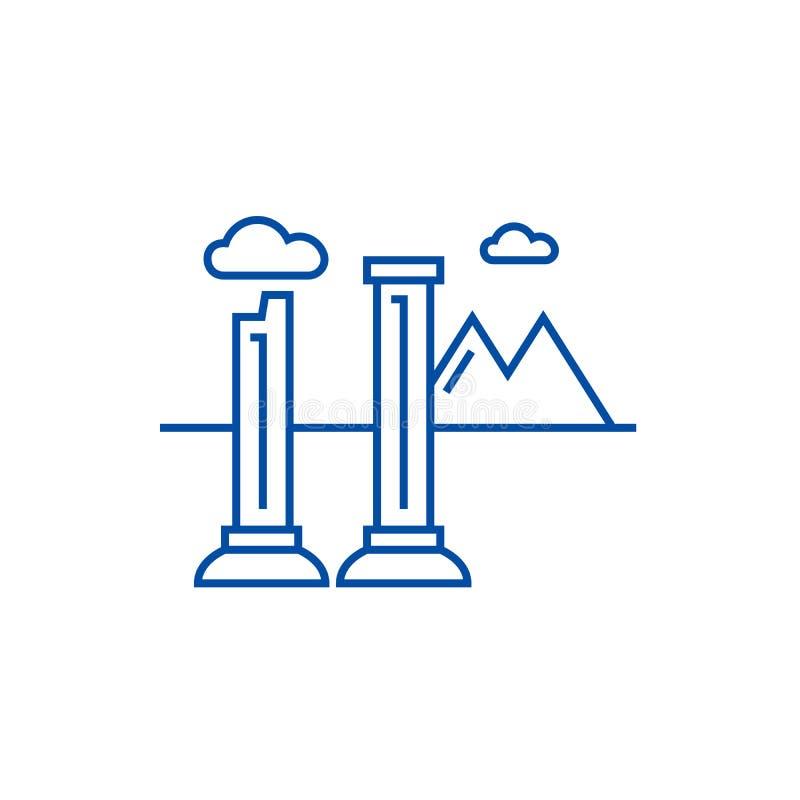 I monumenti delle rovine allineano il concetto dell'icona Monumenti del simbolo piano di vettore di rovine, segno, illustrazione  royalty illustrazione gratis