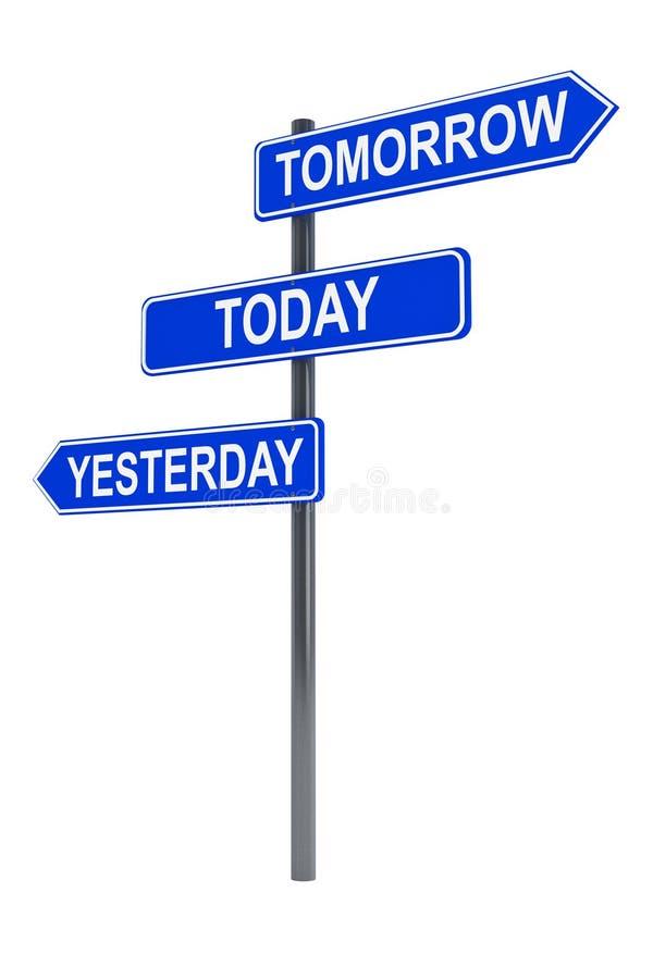 I morgon i dag och igår vägmärke royaltyfri illustrationer