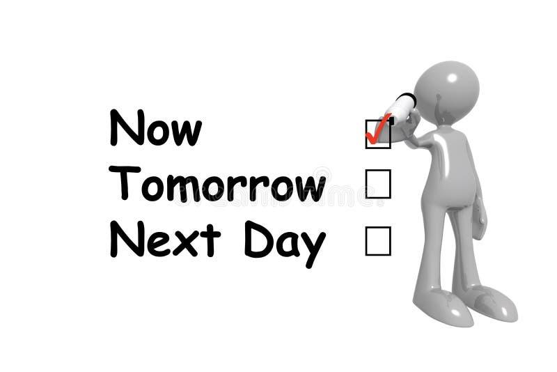 I morgon, nästa dag i vitt stock illustrationer