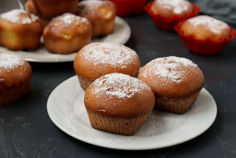 I muffin casalinghi con i pezzi dell'ananas, spruzzati con lo zucchero in polvere, sono situati su un fondo scuro immagine stock