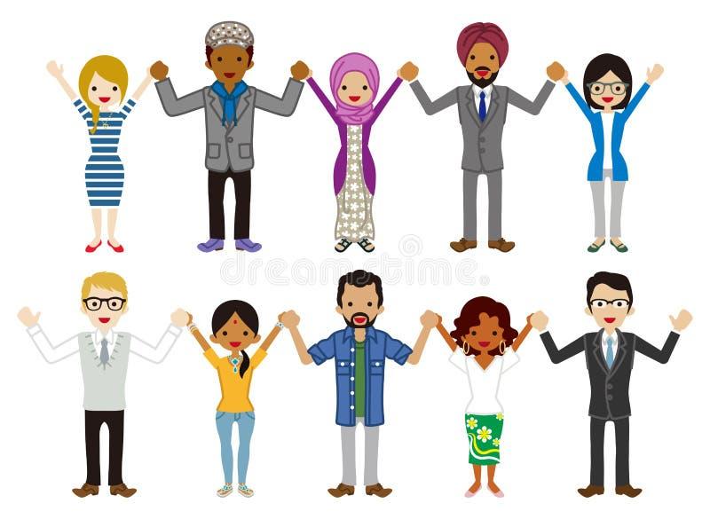 I multi giovani etnici del gruppo degli adulti hanno messo - tenendosi per mano illustrazione vettoriale