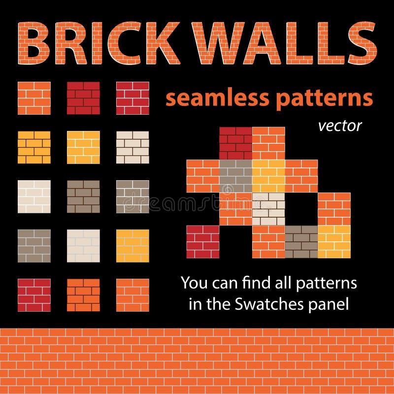 I mura di mattoni Vector i modelli senza cuciture illustrazione vettoriale