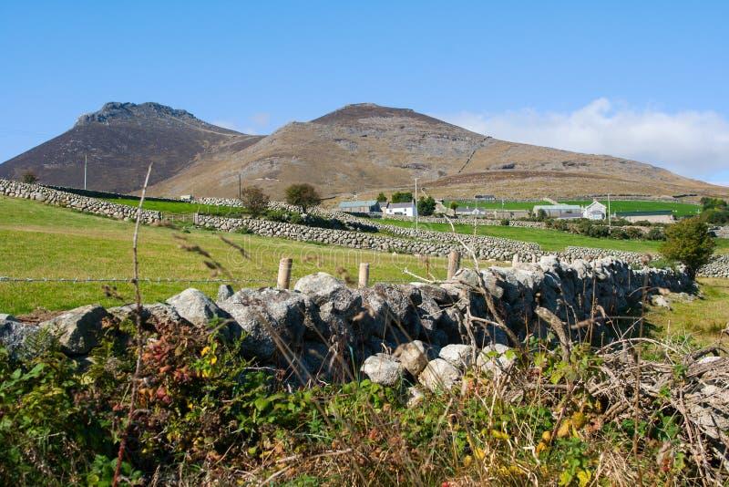 I mura a secchi tipici di quelli hanno trovato nelle montagne di Mourne della contea giù in Irlanda del Nord fotografia stock