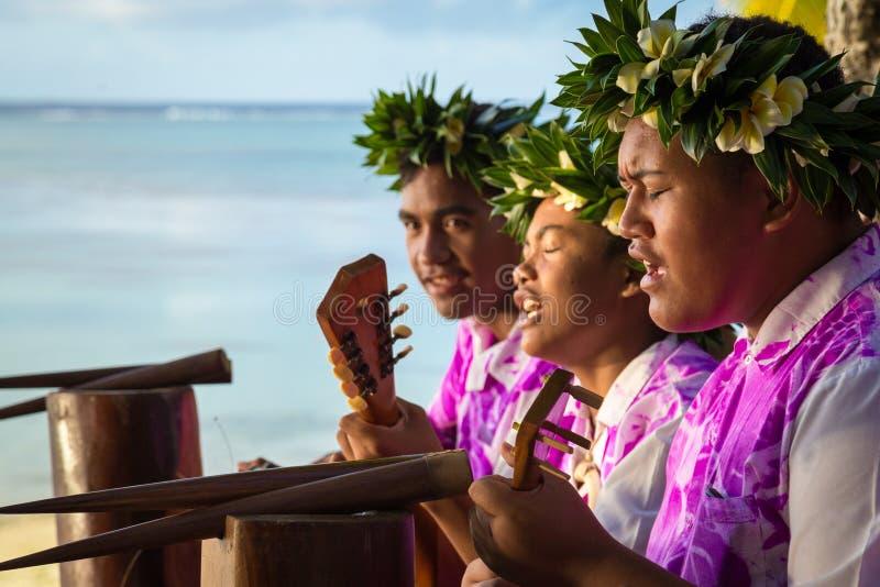 I musicisti cantano e giocano le chitarre alla spiaggia fotografia stock libera da diritti