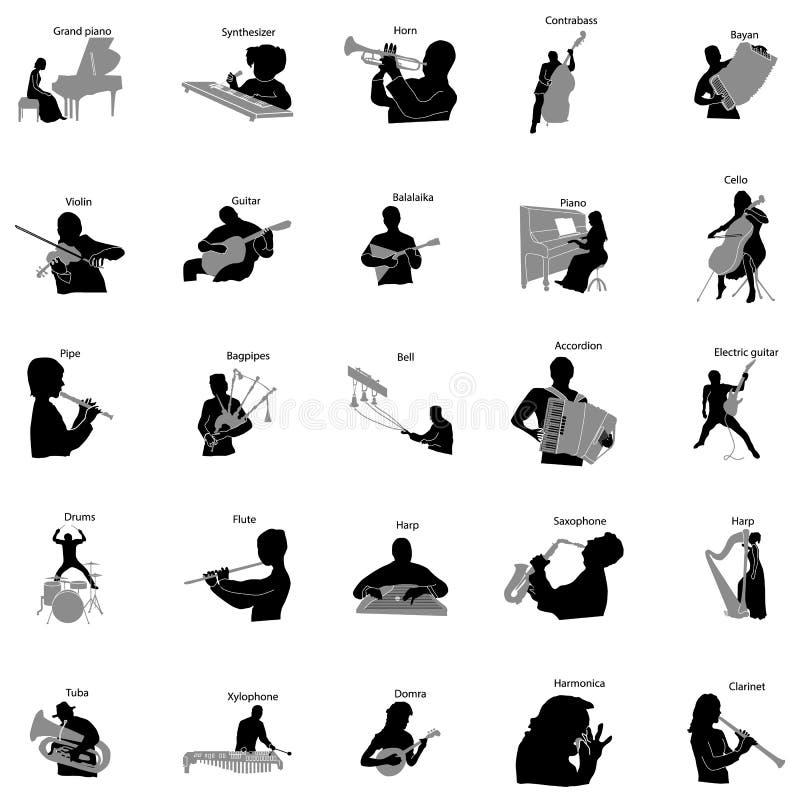 I musicisti profilano le icone stabilite, stile semplice royalty illustrazione gratis