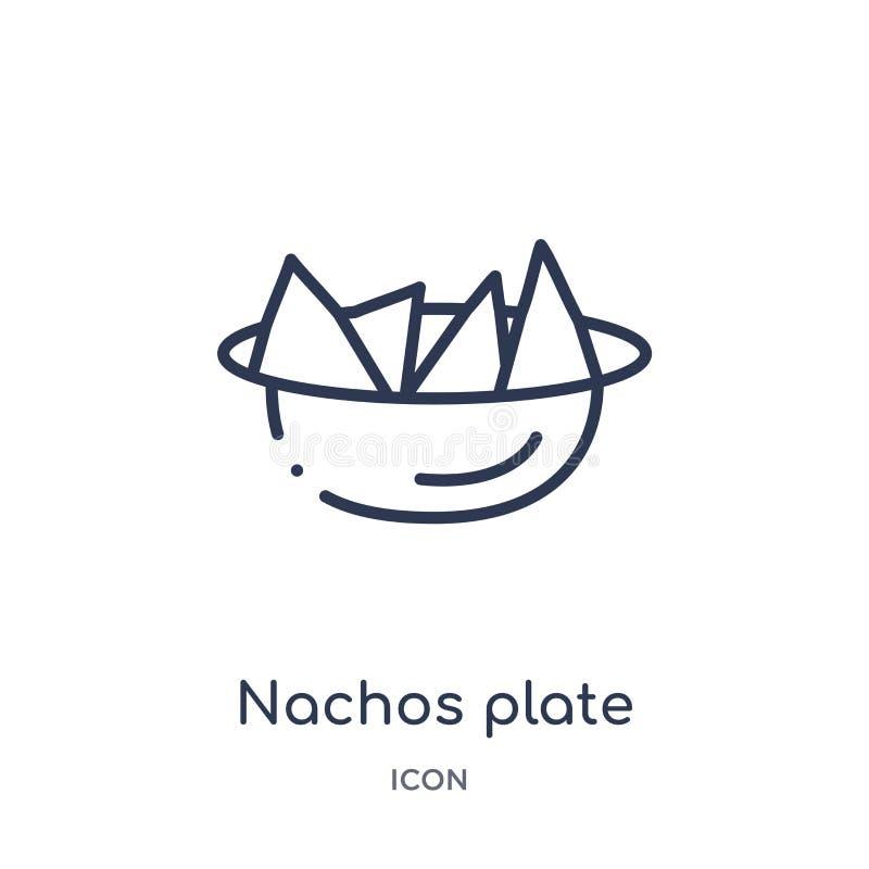 I nacho lineari placcano l'icona dalla raccolta del profilo del ristorante e dei bistrot Linea sottile vettore del piatto dei nac illustrazione di stock
