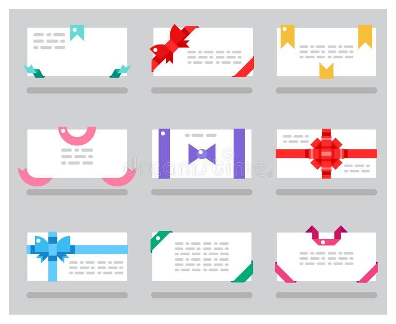 I nastri rossi degli archi del regalo delle carte dell'estratto hanno messo l'illustrazione di vettore illustrazione di stock