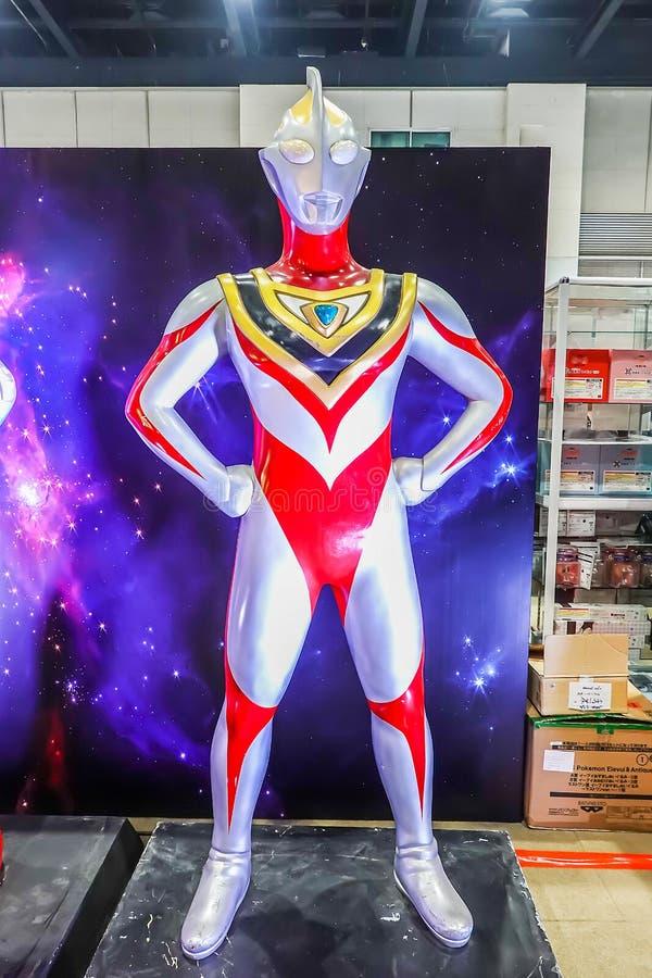 I naturlig storlek av den Ultraman modellen är en japansk TV-serie som produceras av Tsuburaya produktioner arkivfoto