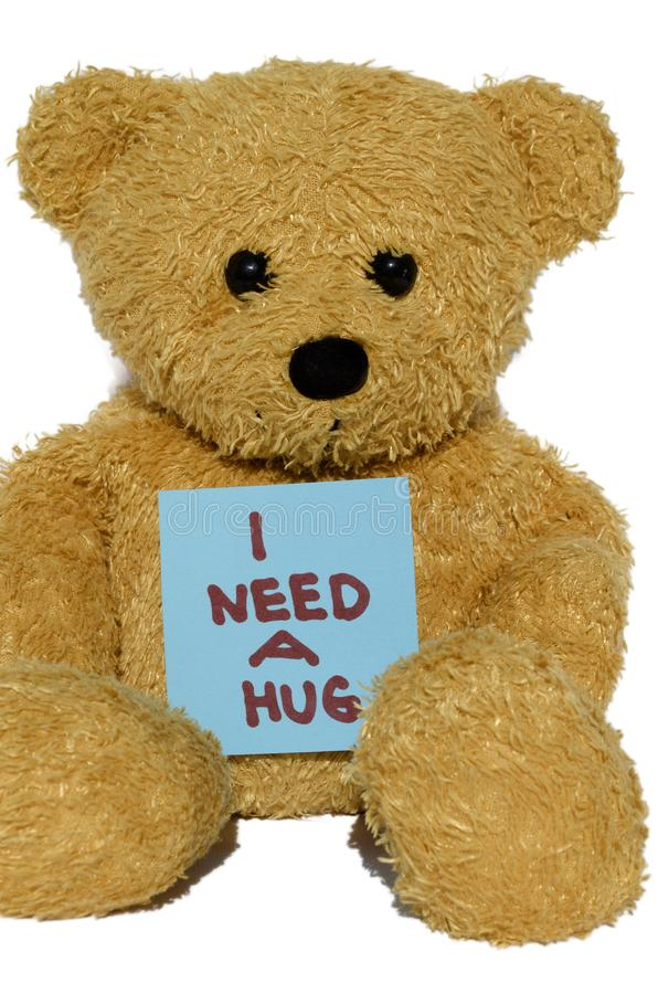 I need a hug teddy bear royalty free stock image