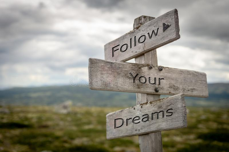 Follow your dreams signpost. royalty free illustration