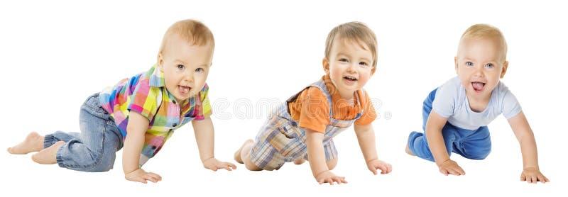 I neonati raggruppano, bambino infantile strisciante, movimento strisciante del bambino del bambino immagine stock