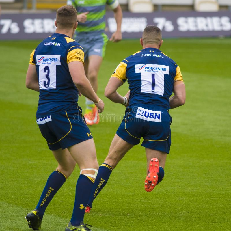 I Newcastle Falcons e Worcester Warriors fotografia stock libera da diritti