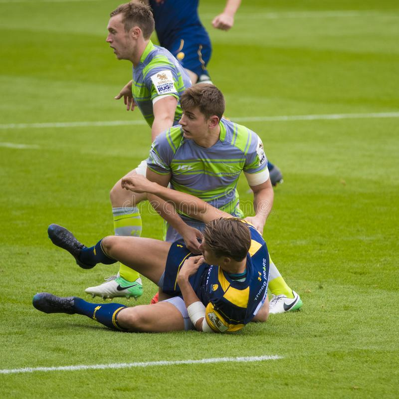 I Newcastle Falcons ed il rugby 7 S di Worcester Warriors fotografie stock libere da diritti
