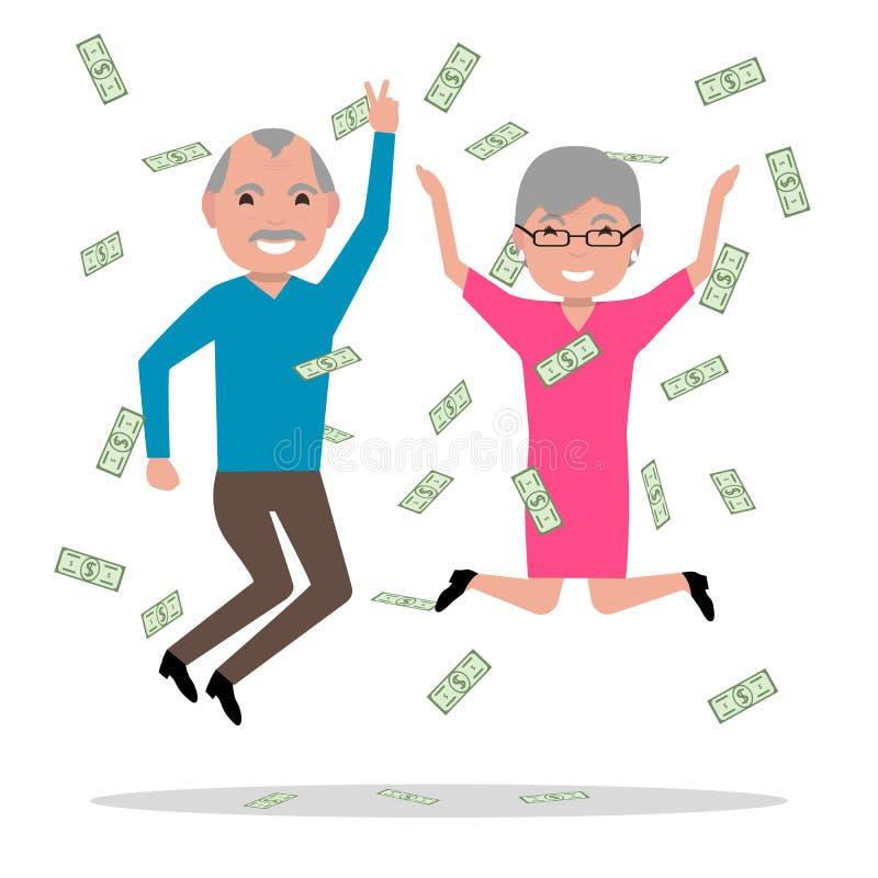 I nonni hanno vinto il grande premio e sono diventato ricchi royalty illustrazione gratis