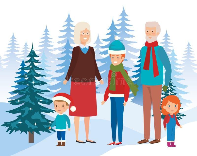I nonni si accoppiano con i bambini nel campo royalty illustrazione gratis