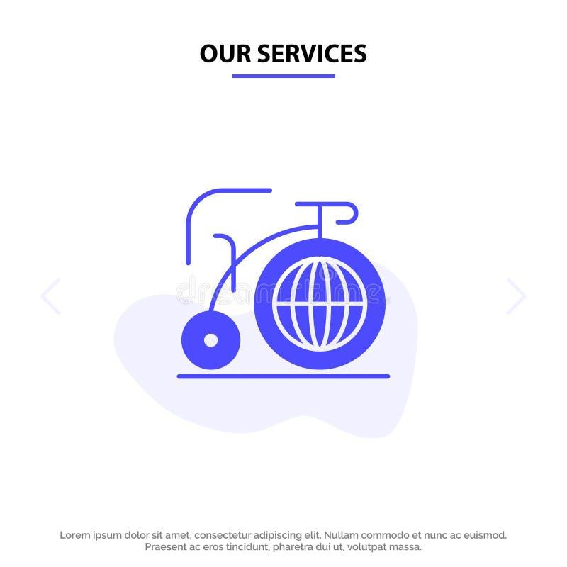 I nostri servizi grandi, bici, sogno, modello solido della carta di web dell'icona di glifo di ispirazione illustrazione di stock
