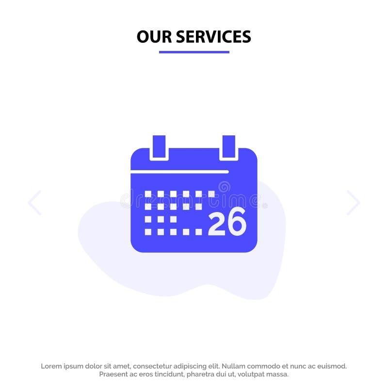 I nostri servizi indiani, giorno, giorno indiano della Repubblica, modello della carta di 26 Jan Solid Glyph Icon Web royalty illustrazione gratis
