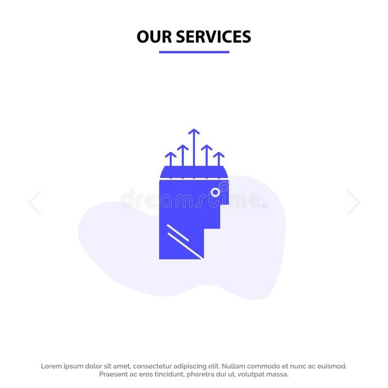 I nostri servizi passano, l'ipnosi, i dati, modello solido della carta di web dell'icona di glifo della psicologia royalty illustrazione gratis