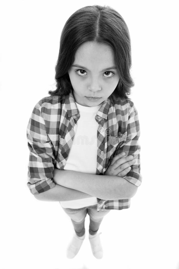 I am not talking to you. Girl serious face offended white background. Kid unhappy looks strictly. Girl folded arms on. Chest looks serious. Sensitive girl not stock images