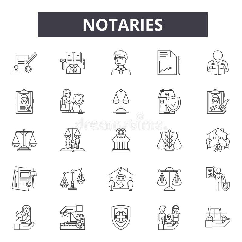 I notai allineano le icone, segni, insieme di vettore, concetto lineare, illustrazione del profilo illustrazione di stock