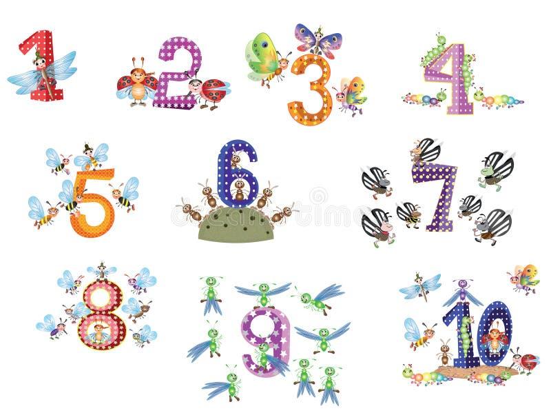 I numeri hanno impostato con gli insetti illustrazione di stock
