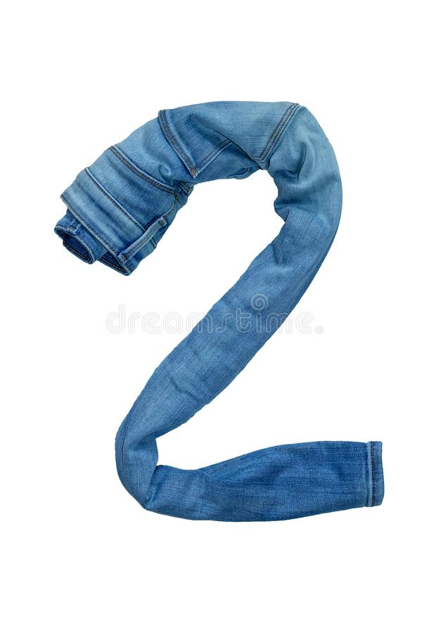 I numeri isolati da 1 a 10 presentati con i jeans nei colori differenti fotografia stock libera da diritti