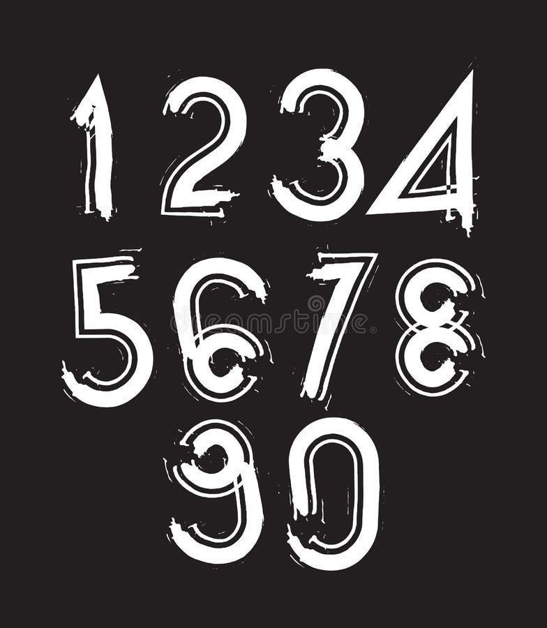 I numeri scritti a mano bianchi, scarabocchio di vettore hanno spazzolato le figure, a mano-p royalty illustrazione gratis