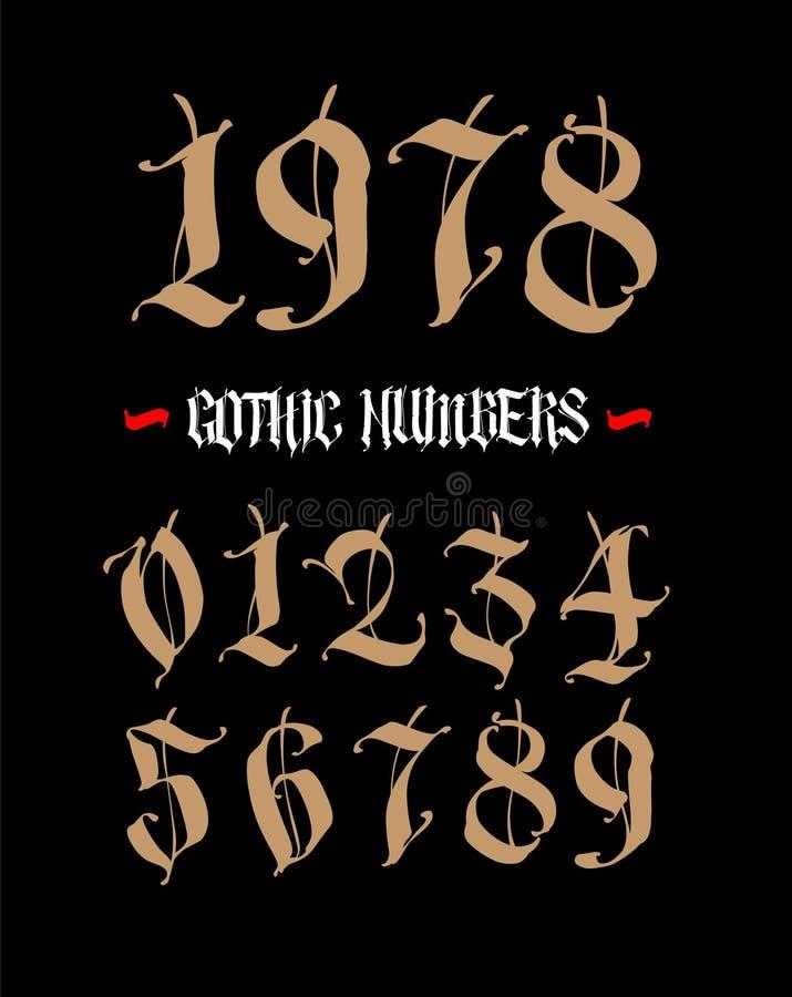 I numeri sono nello stile gotico Vettore Simboli isolati su fondo bianco Calligrafia ed iscrizione Figure medievali illustrazione vettoriale