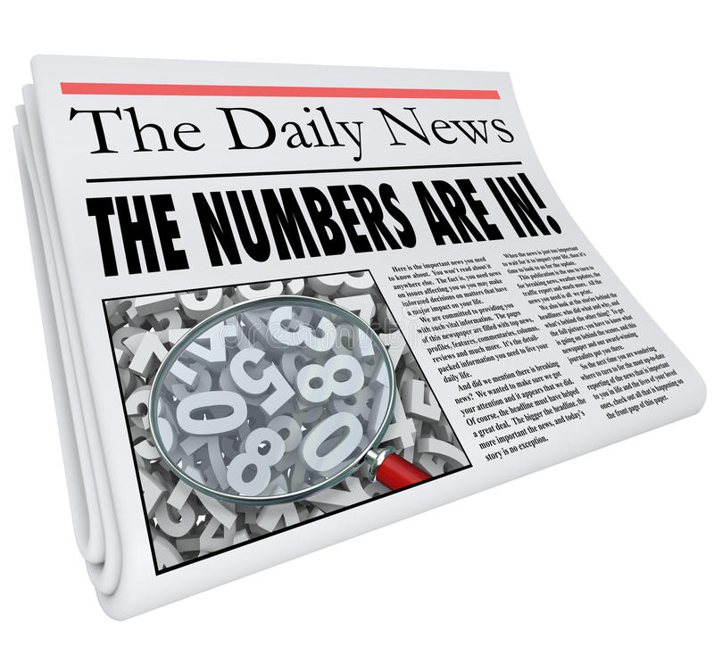 I numeri sono trimestralmente nel titolo di giornale Resul annuale mensile illustrazione di stock